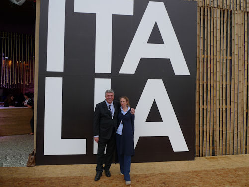 Vander Tumiatti, fondatore e socio accomandatario Sea Marconi e Cristina Tumiatti, direttrice commerciale e marketing Sea Marconi al padiglione Italia